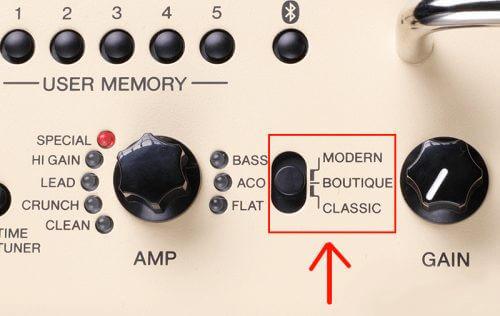 「THR30 II Wireless」アンプ本体のコントロールスイッチ画像