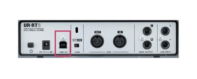 オーディオインターフェース「USB端子」の場所